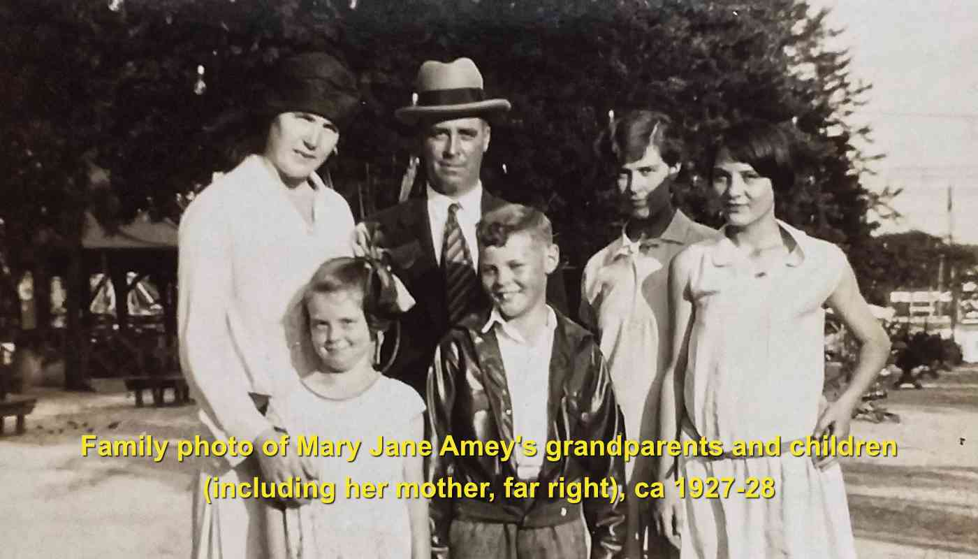 Family photo of Mary Jane Amey's grandparents and children (including her mother, far right), ca 1927-28