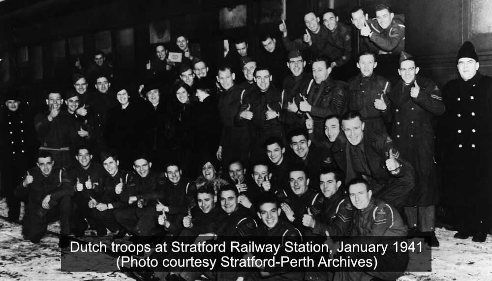 Dutch troops at Stratford Railway station 1941